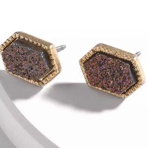 Dark Purple Druzy Earrings